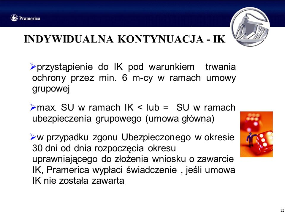 12 INDYWIDUALNA KONTYNUACJA - IK przystąpienie do IK pod warunkiem trwania ochrony przez min. 6 m-cy w ramach umowy grupowej max. SU w ramach IK < lub