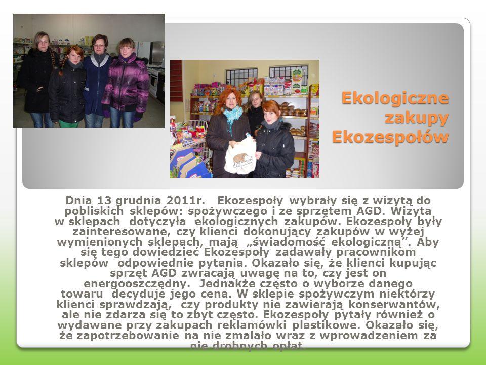 Ekologiczne zakupy Ekozespołów Dnia 13 grudnia 2011r. Ekozespoły wybrały się z wizytą do pobliskich sklepów: spożywczego i ze sprzętem AGD. Wizyta w s