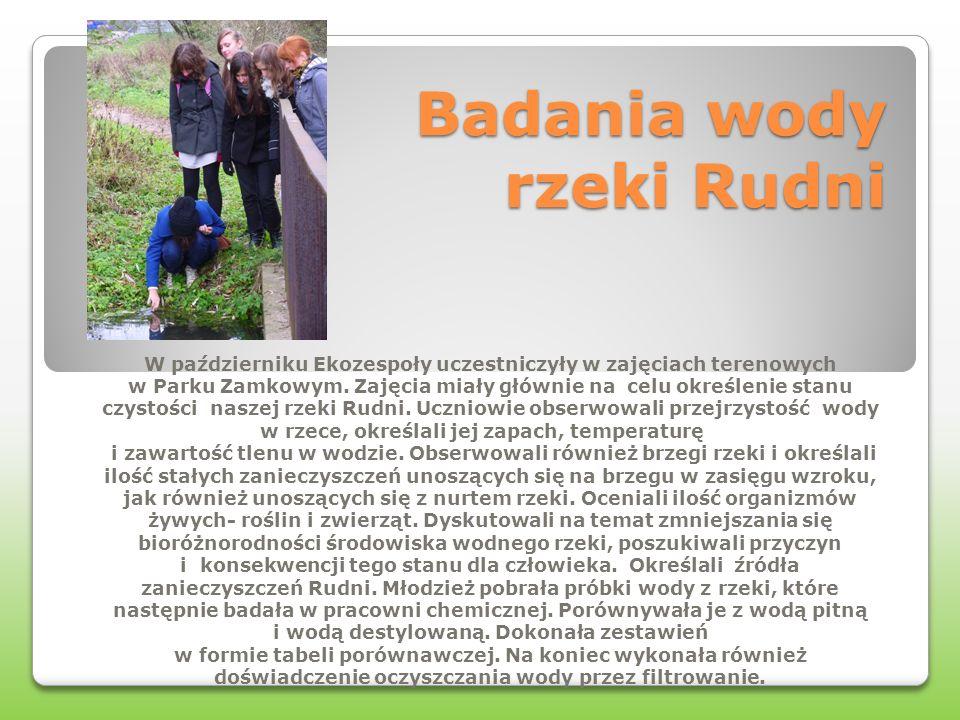 Badania wody rzeki Rudni W październiku Ekozespoły uczestniczyły w zajęciach terenowych w Parku Zamkowym. Zajęcia miały głównie na celu określenie sta