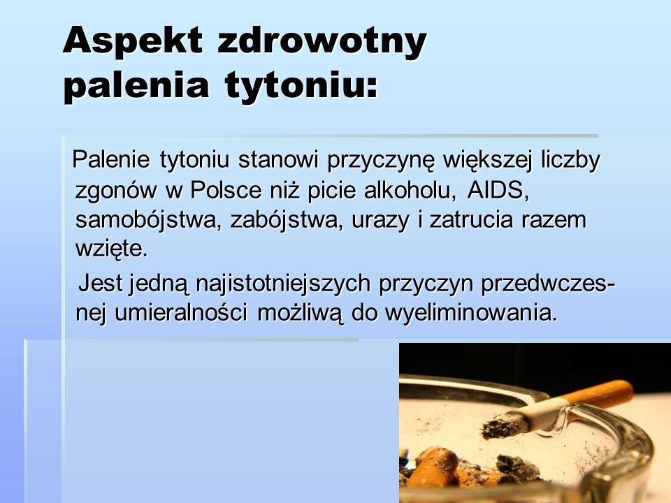 Aspekt zdrowotny palenia tytoniu: Palenie tytoniu stanowi przyczynę większej liczby zgonów w Polsce niż picie alkoholu, AIDS, samobójstwa, zabójstwa,
