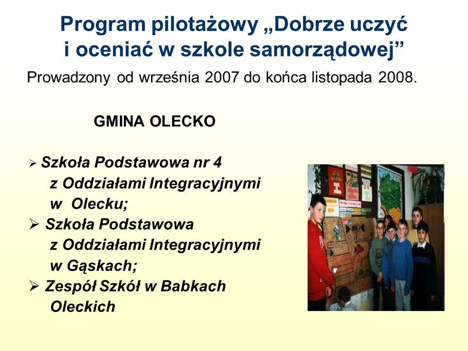Program pilotażowy Dobrze uczyć i oceniać w szkole samorządowej GMINA OLECKO Szkoła Podstawowa nr 4 z Oddziałami Integracyjnymi w Olecku; Szkoła Podstawowa z Oddziałami Integracyjnymi w Gąskach; Zespół Szkół w Babkach Oleckich Prowadzony od września 2007 do końca listopada 2008.