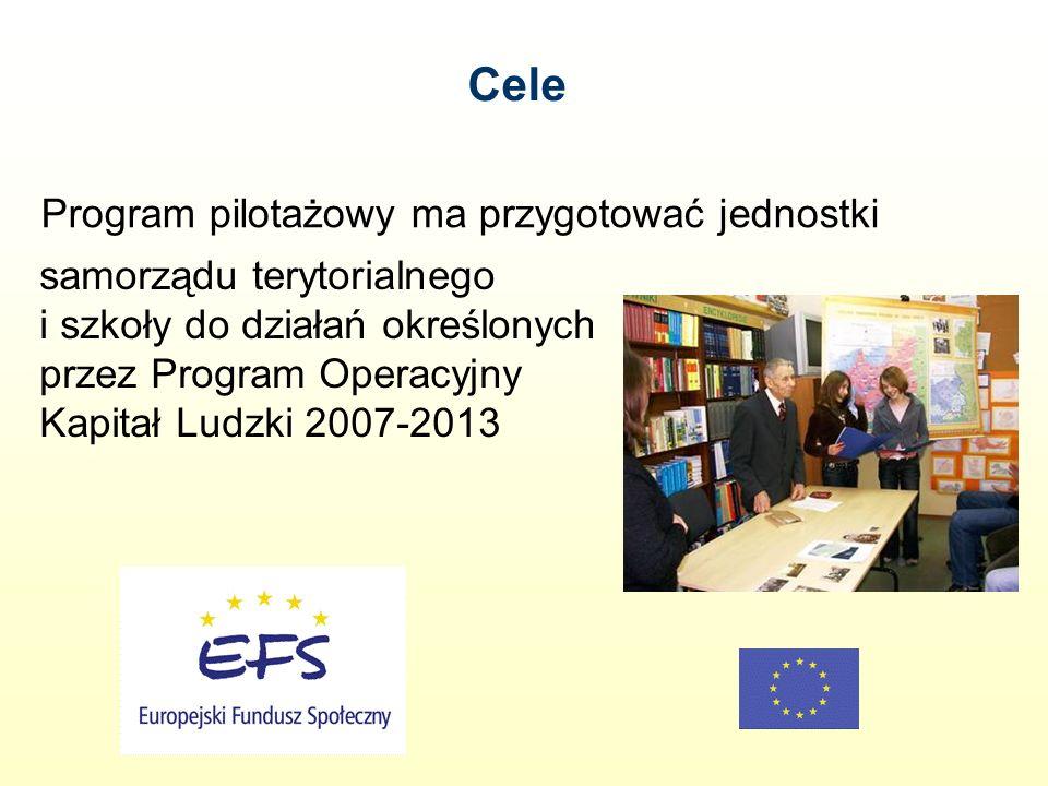 Program pilotażowy ma przygotować jednostki samorządu terytorialnego i szkoły do działań określonych przez Program Operacyjny Kapitał Ludzki 2007-2013 Cele
