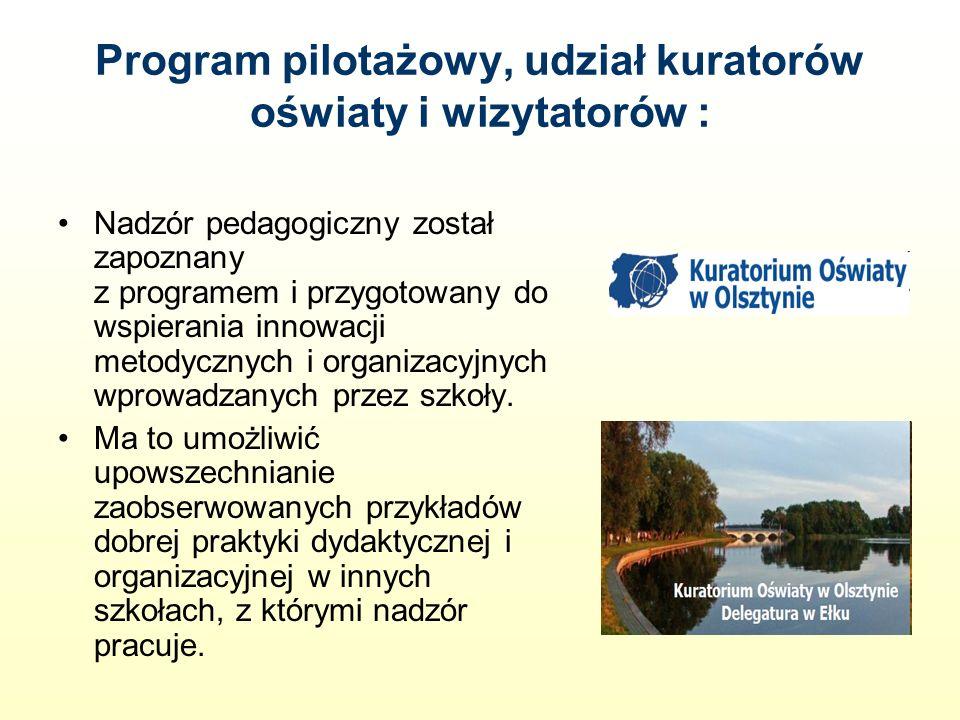 Program pilotażowy, udział kuratorów oświaty i wizytatorów : Nadzór pedagogiczny został zapoznany z programem i przygotowany do wspierania innowacji metodycznych i organizacyjnych wprowadzanych przez szkoły.
