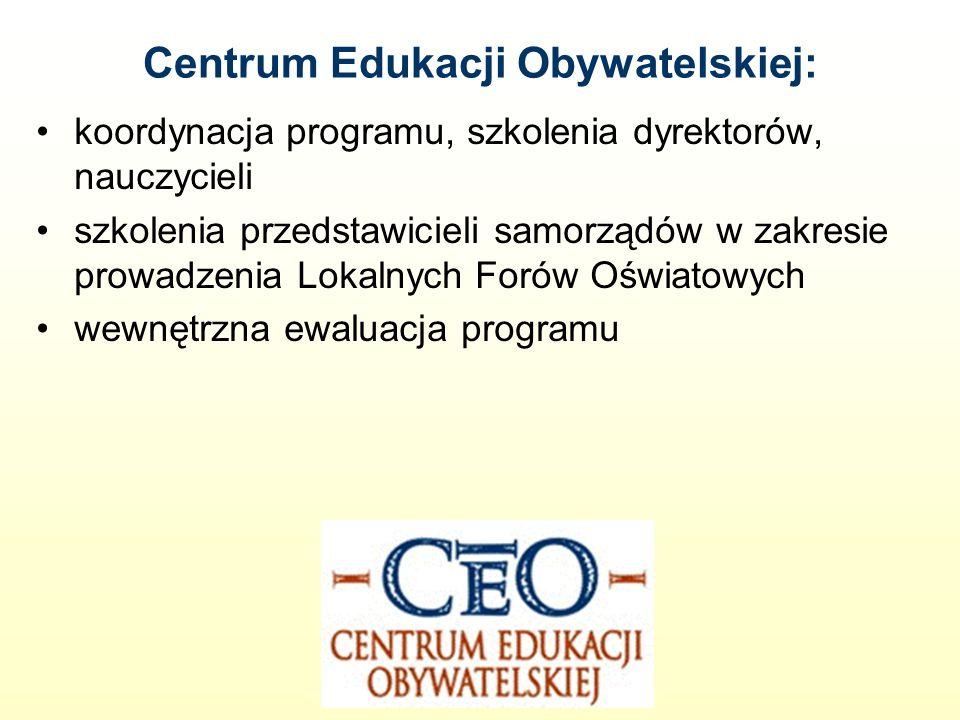 Centrum Edukacji Obywatelskiej: koordynacja programu, szkolenia dyrektorów, nauczycieli szkolenia przedstawicieli samorządów w zakresie prowadzenia Lokalnych Forów Oświatowych wewnętrzna ewaluacja programu
