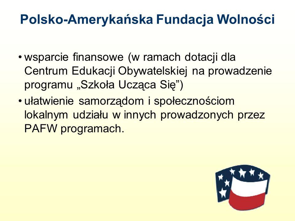 Polsko-Amerykańska Fundacja Wolności wsparcie finansowe (w ramach dotacji dla Centrum Edukacji Obywatelskiej na prowadzenie programu Szkoła Ucząca Się) ułatwienie samorządom i społecznościom lokalnym udziału w innych prowadzonych przez PAFW programach.