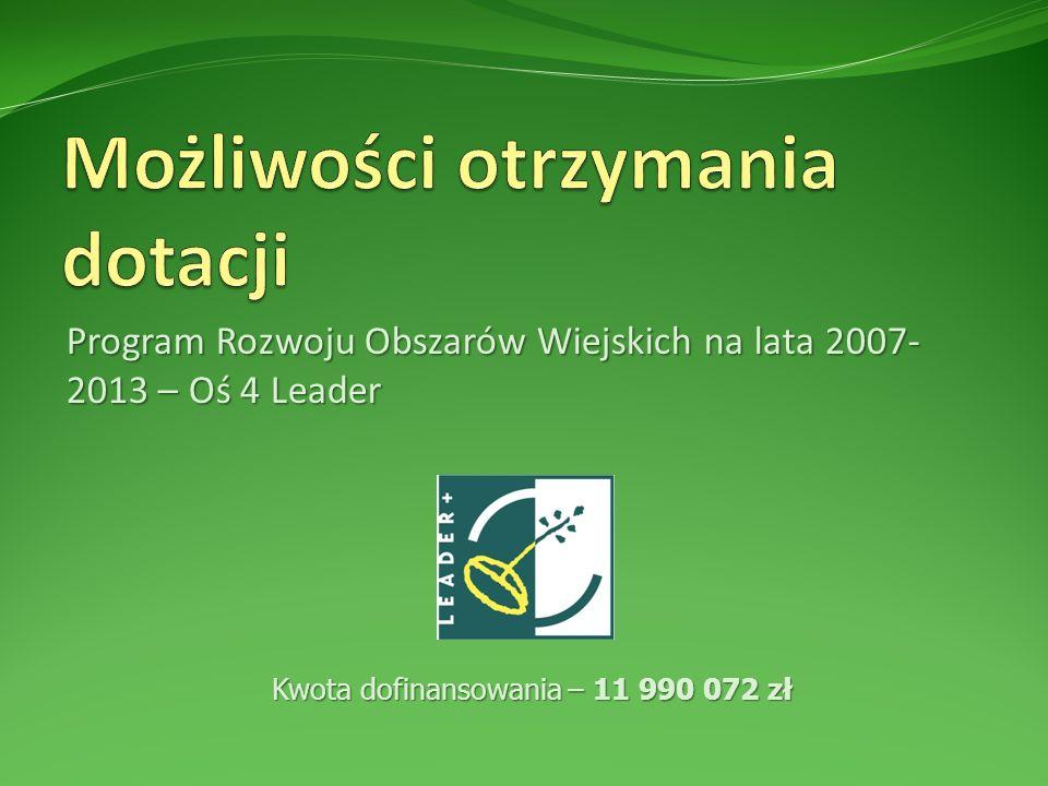 Program Rozwoju Obszarów Wiejskich na lata 2007- 2013 – Oś 4 Leader Kwota dofinansowania – 11 990 072 zł