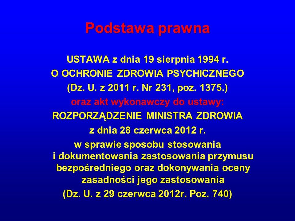 Podstawa prawna USTAWA z dnia 19 sierpnia 1994 r.O OCHRONIE ZDROWIA PSYCHICZNEGO (Dz.