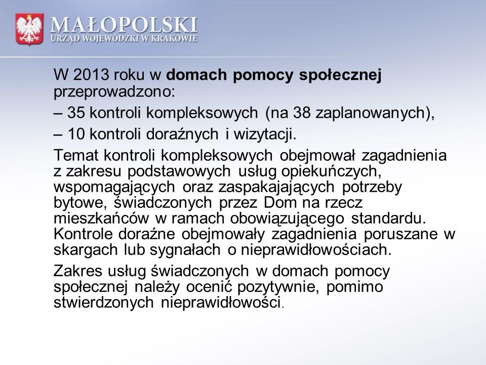 W 2013 roku w domach pomocy społecznej przeprowadzono: – 35 kontroli kompleksowych (na 38 zaplanowanych), – 10 kontroli doraźnych i wizytacji.