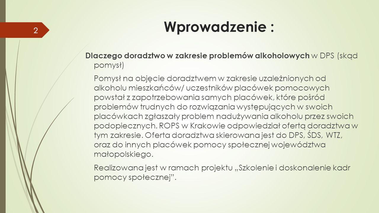 Wprowadzenie : Dlaczego doradztwo w zakresie problemów alkoholowych w DPS (skąd pomysł) Pomysł na objęcie doradztwem w zakresie uzależnionych od alkoh