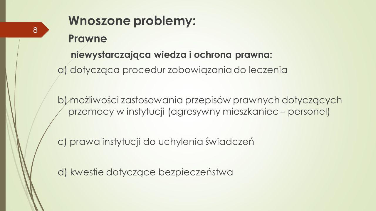 Wnoszone problemy: Prawne niewystarczająca wiedza i ochrona prawna: a) dotycząca procedur zobowiązania do leczenia b) możliwości zastosowania przepisó