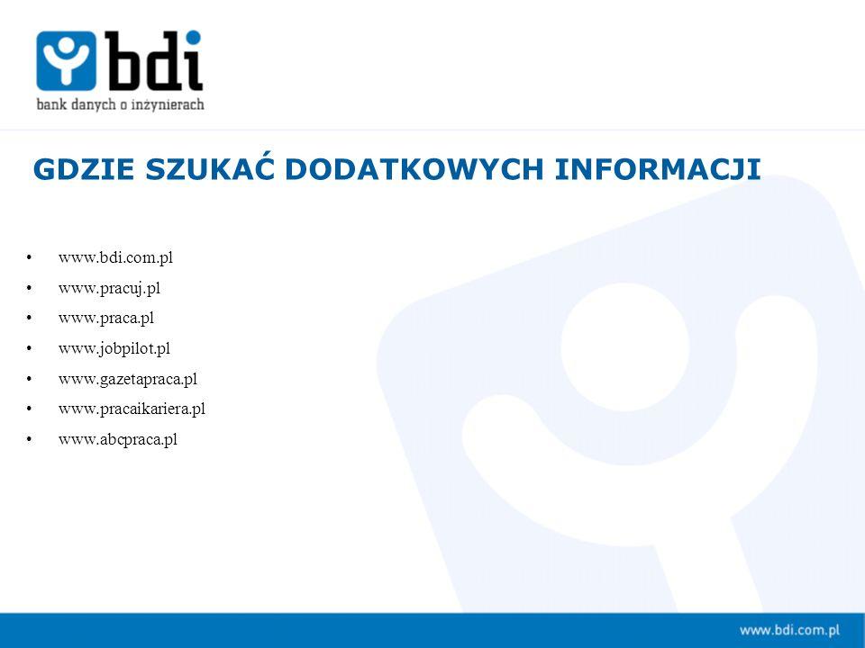www.bdi.com.pl www.pracuj.pl www.praca.pl www.jobpilot.pl www.gazetapraca.pl www.pracaikariera.pl www.abcpraca.pl GDZIE SZUKAĆ DODATKOWYCH INFORMACJI