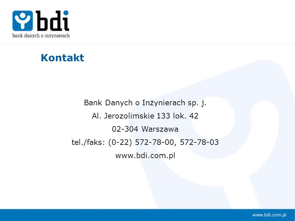Bank Danych o Inżynierach sp. j. Al. Jerozolimskie 133 lok.