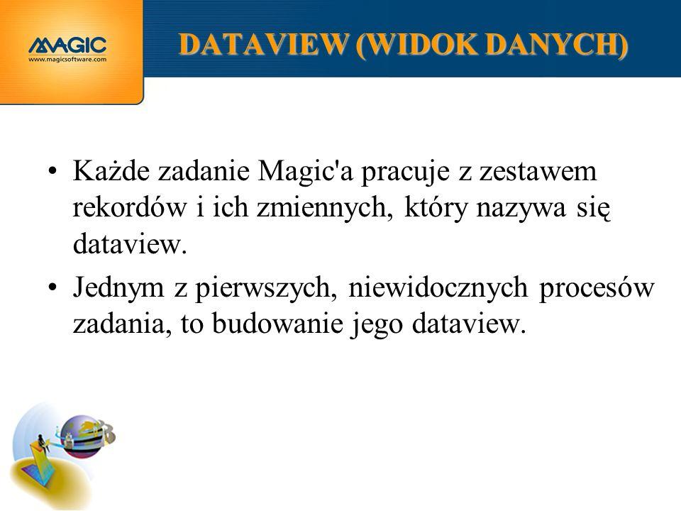 DATAVIEW (WIDOK DANYCH) Każde zadanie Magic a pracuje z zestawem rekordów i ich zmiennych, który nazywa się dataview.