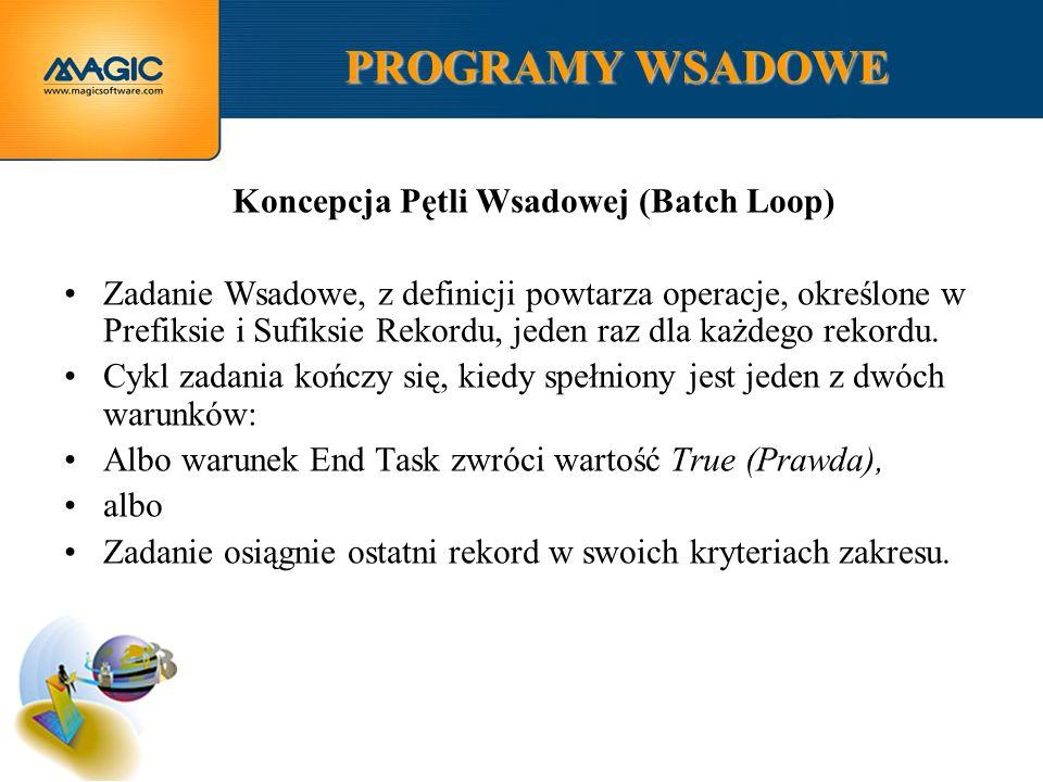 PROGRAMY WSADOWE Koncepcja Pętli Wsadowej (Batch Loop) Zadanie Wsadowe, z definicji powtarza operacje, określone w Prefiksie i Sufiksie Rekordu, jeden raz dla każdego rekordu.
