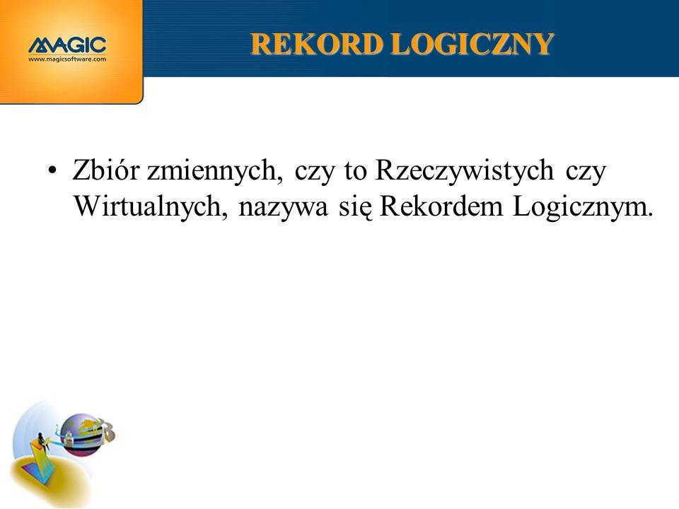 REKORD LOGICZNY Zbiór zmiennych, czy to Rzeczywistych czy Wirtualnych, nazywa się Rekordem Logicznym.
