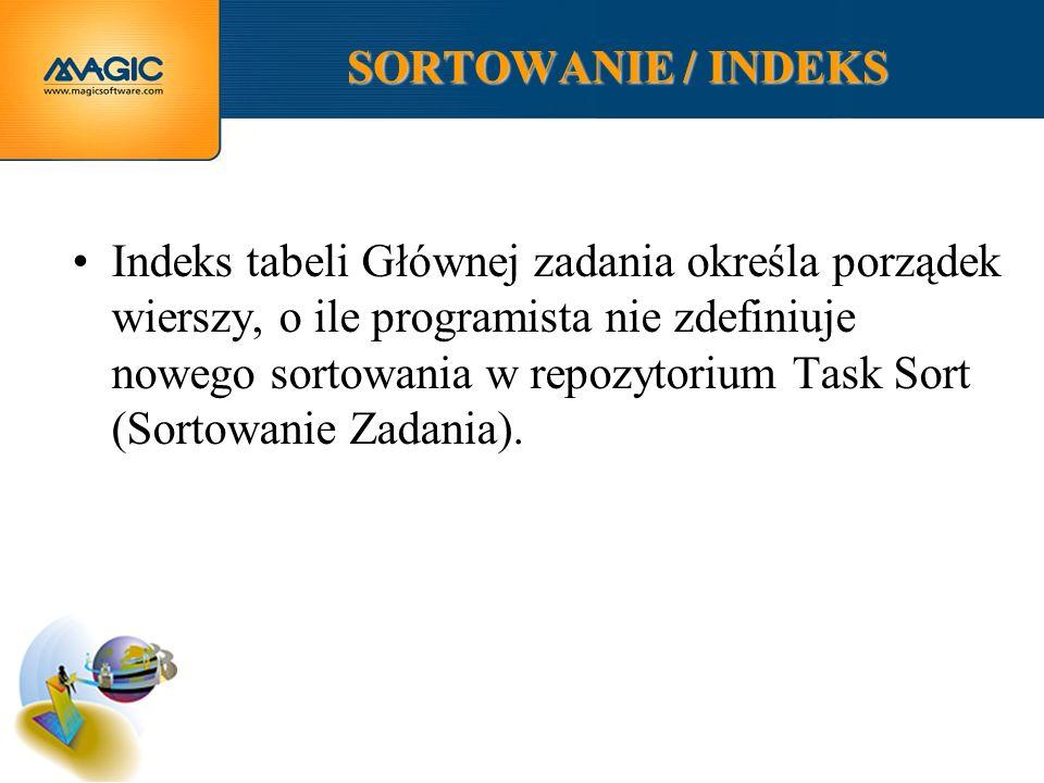 SORTOWANIE / INDEKS Indeks tabeli Głównej zadania określa porządek wierszy, o ile programista nie zdefiniuje nowego sortowania w repozytorium Task Sort (Sortowanie Zadania).