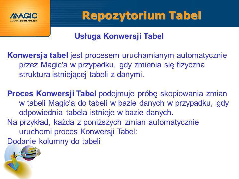 Repozytorium Tabel Usługa Konwersji Tabel Konwersja tabel jest procesem uruchamianym automatycznie przez Magic a w przypadku, gdy zmienia się fizyczna struktura istniejącej tabeli z danymi.