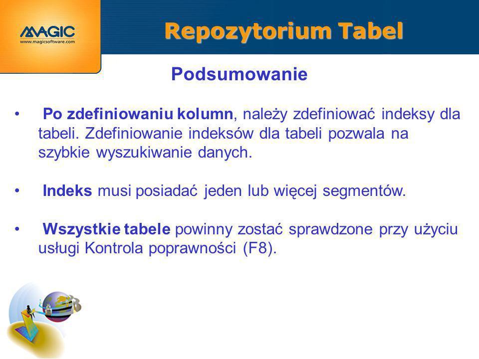Repozytorium Tabel Podsumowanie Po zdefiniowaniu kolumn, należy zdefiniować indeksy dla tabeli.