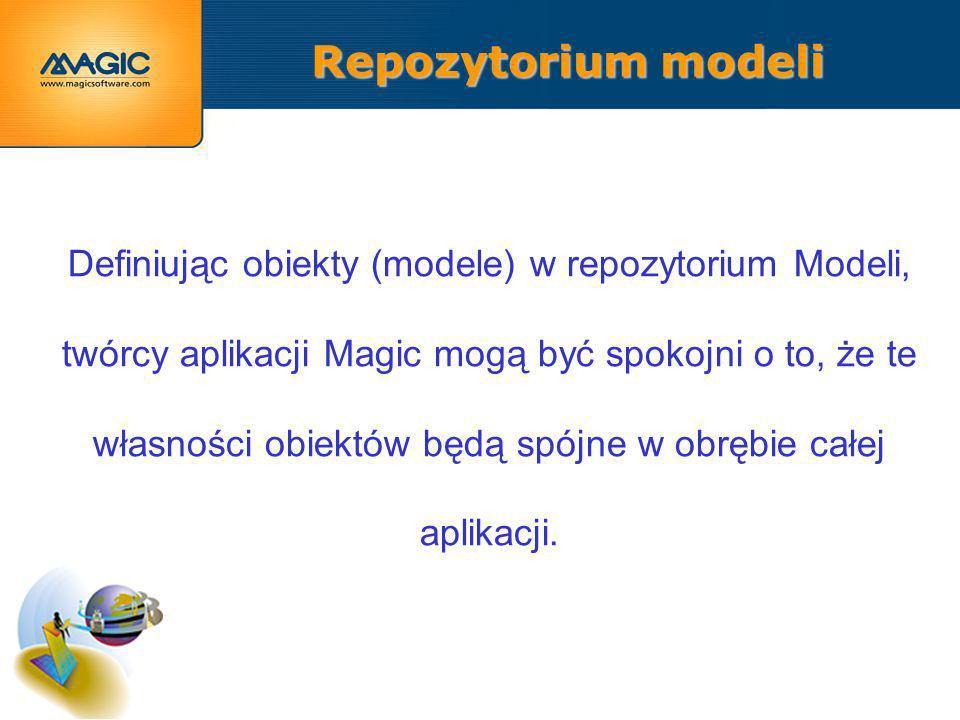 Repozytorium modeli Definiując obiekty (modele) w repozytorium Modeli, twórcy aplikacji Magic mogą być spokojni o to, że te własności obiektów będą spójne w obrębie całej aplikacji.