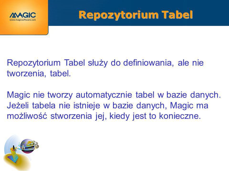 Repozytorium Tabel Repozytorium Tabel służy do definiowania, ale nie tworzenia, tabel.