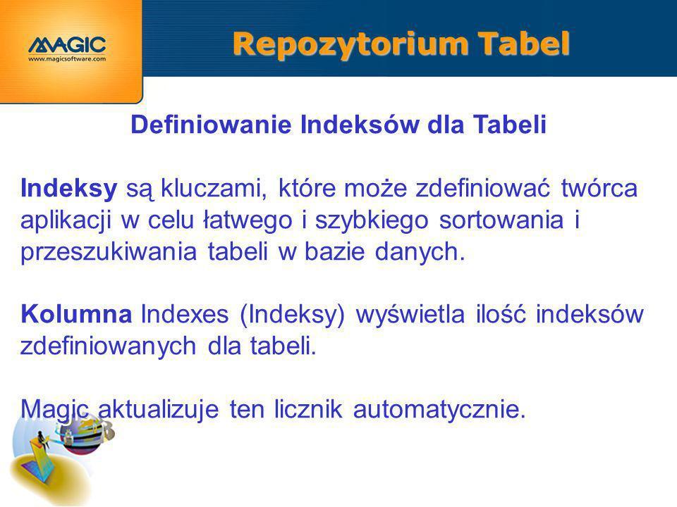 Repozytorium Tabel Definiowanie Indeksów dla Tabeli Indeksy są kluczami, które może zdefiniować twórca aplikacji w celu łatwego i szybkiego sortowania i przeszukiwania tabeli w bazie danych.