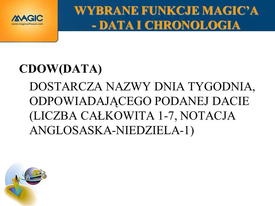 WYBRANE FUNKCJE MAGICA - DATA I CHRONOLOGIA CDOW(DATA) DOSTARCZA NAZWY DNIA TYGODNIA, ODPOWIADAJĄCEGO PODANEJ DACIE (LICZBA CAŁKOWITA 1-7, NOTACJA ANGLOSASKA-NIEDZIELA-1)