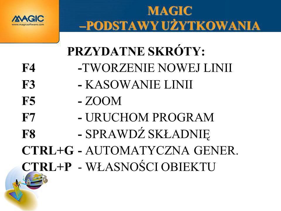 MAGIC –PODSTAWY UŻYTKOWANIA PRZYDATNE SKRÓTY: F4-TWORZENIE NOWEJ LINII F3- KASOWANIE LINII F5- ZOOM F7- URUCHOM PROGRAM F8- SPRAWDŹ SKŁADNIĘ CTRL+G- A