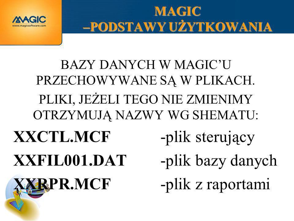 MAGIC –PODSTAWY UŻYTKOWANIA BAZY DANYCH W MAGICU PRZECHOWYWANE SĄ W PLIKACH. PLIKI, JEŻELI TEGO NIE ZMIENIMY OTRZYMUJĄ NAZWY WG SHEMATU: XXCTL.MCF-pli
