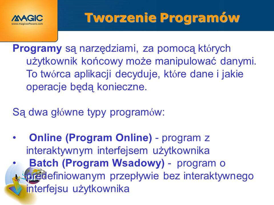 Tworzenie Programów Programy są narzędziami, za pomocą kt ó rych użytkownik końcowy może manipulować danymi.