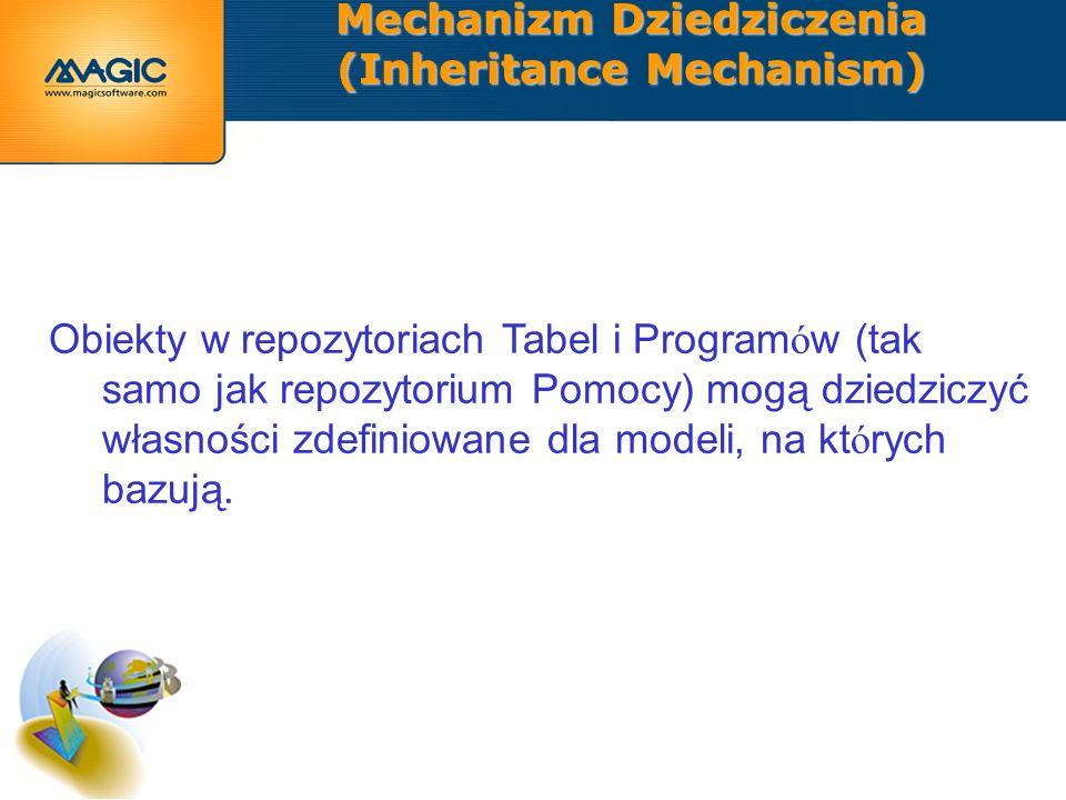 Mechanizm Dziedziczenia (Inheritance Mechanism) Obiekty w repozytoriach Tabel i Program ó w (tak samo jak repozytorium Pomocy) mogą dziedziczyć własności zdefiniowane dla modeli, na kt ó rych bazują.