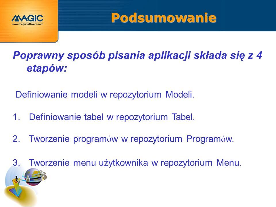 Podsumowanie Poprawny sposób pisania aplikacji składa się z 4 etapów: Definiowanie modeli w repozytorium Modeli.
