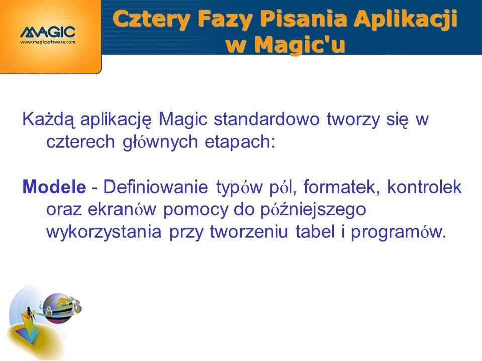 Cztery Fazy Pisania Aplikacji w Magic u Każdą aplikację Magic standardowo tworzy się w czterech gł ó wnych etapach: Modele - Definiowanie typ ó w p ó l, formatek, kontrolek oraz ekran ó w pomocy do p ó źniejszego wykorzystania przy tworzeniu tabel i program ó w.