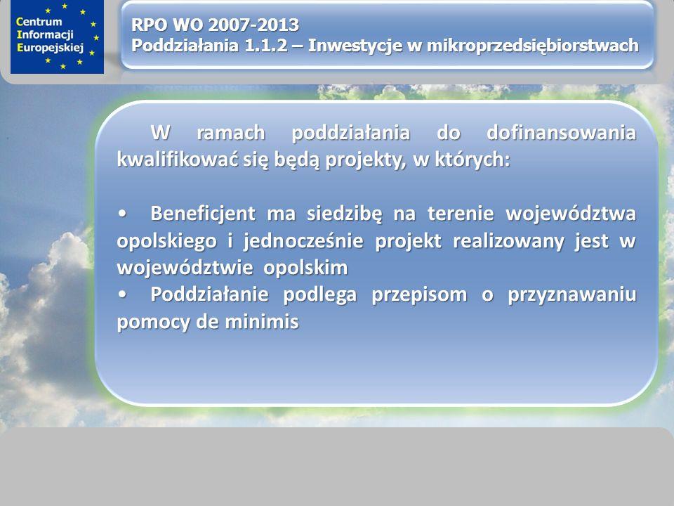 sprawimy, że Twój BIZNES rozkwitnie W ramach poddziałania do dofinansowania kwalifikować się będą projekty, w których: Beneficjent ma siedzibę na terenie województwa opolskiego i jednocześnie projekt realizowany jest w województwie opolskimBeneficjent ma siedzibę na terenie województwa opolskiego i jednocześnie projekt realizowany jest w województwie opolskim Poddziałanie podlega przepisom o przyznawaniu pomocy de minimisPoddziałanie podlega przepisom o przyznawaniu pomocy de minimis