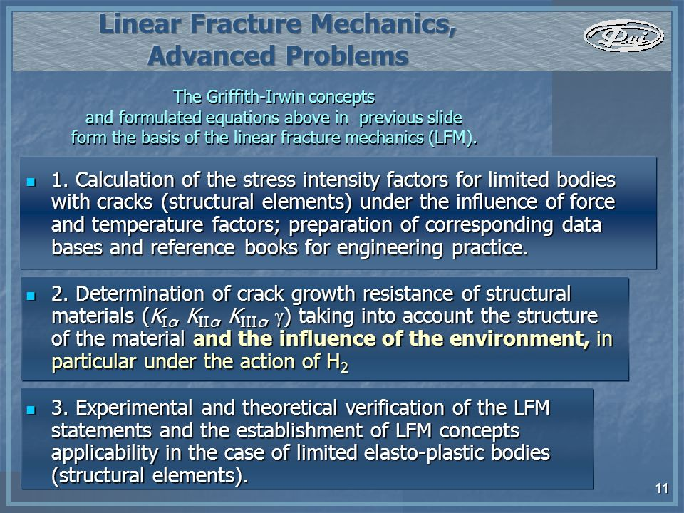 11 The Griffith-Irwin concepts and formulated equations above in previous slide form the basis of the linear fracture mechanics (LFM).