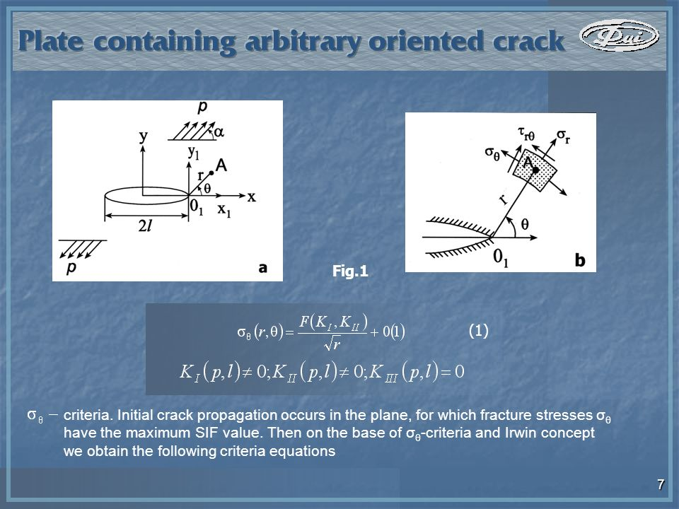 7 criteria. Initial crack propagation occurs in the plane, for which fracture stresses σ θ have the maximum SIF value. Then on the base of σ θ -criter