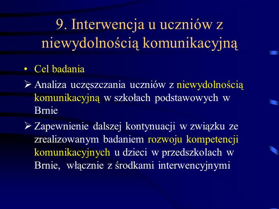 9. Interwencja u uczniów z niewydolnością komunikacyjną Cel badania Analiza uczęszczania uczniów z niewydolnością komunikacyjną w szkołach podstawowyc