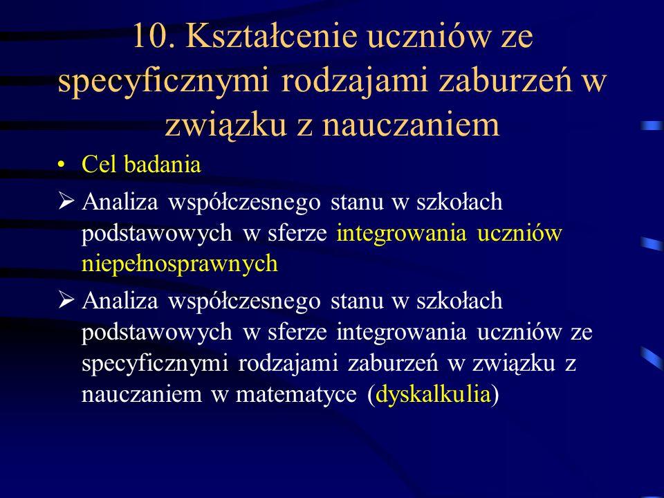 10. Kształcenie uczniów ze specyficznymi rodzajami zaburzeń w związku z nauczaniem Cel badania Analiza współczesnego stanu w szkołach podstawowych w s