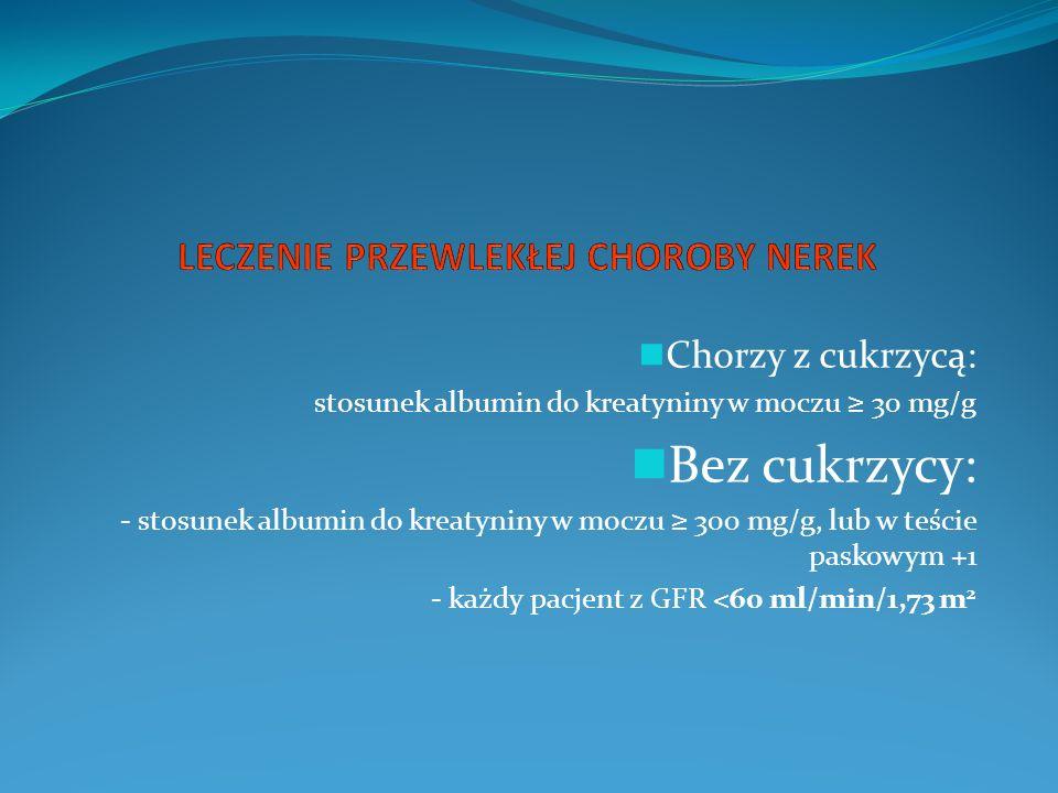 Chorzy z cukrzycą: stosunek albumin do kreatyniny w moczu 30 mg/g Bez cukrzycy: - stosunek albumin do kreatyniny w moczu 300 mg/g, lub w teście paskowym +1 - każdy pacjent z GFR <60 ml/min/1,73 m 2
