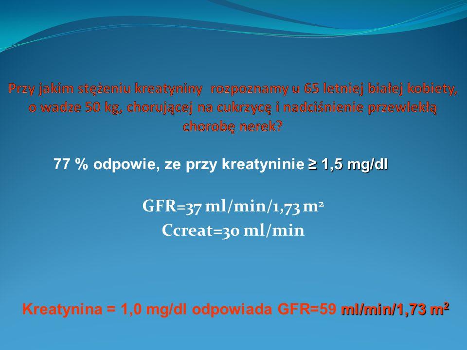 GFR=37 ml/min/1,73 m 2 Ccreat=30 ml/min 1,5 mg/dl 77 % odpowie, ze przy kreatyninie 1,5 mg/dl ml/min/1,73 m 2 Kreatynina = 1,0 mg/dl odpowiada GFR=59 ml/min/1,73 m 2