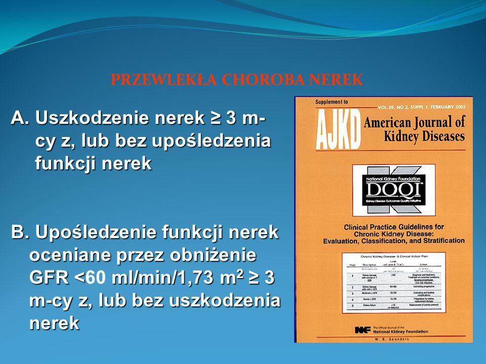 A. Uszkodzenie nerek 3 m- cy z, lub bez upośledzenia funkcji nerek B.
