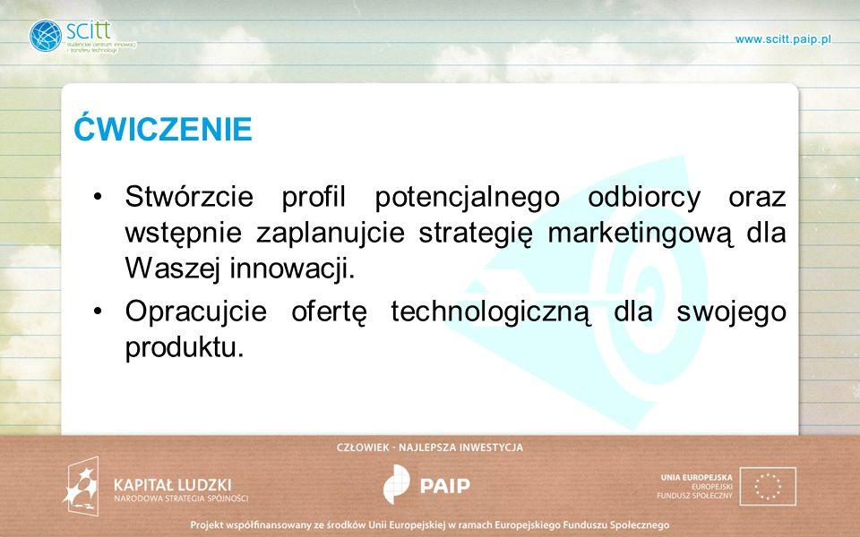 ĆWICZENIE Stwórzcie profil potencjalnego odbiorcy oraz wstępnie zaplanujcie strategię marketingową dla Waszej innowacji.