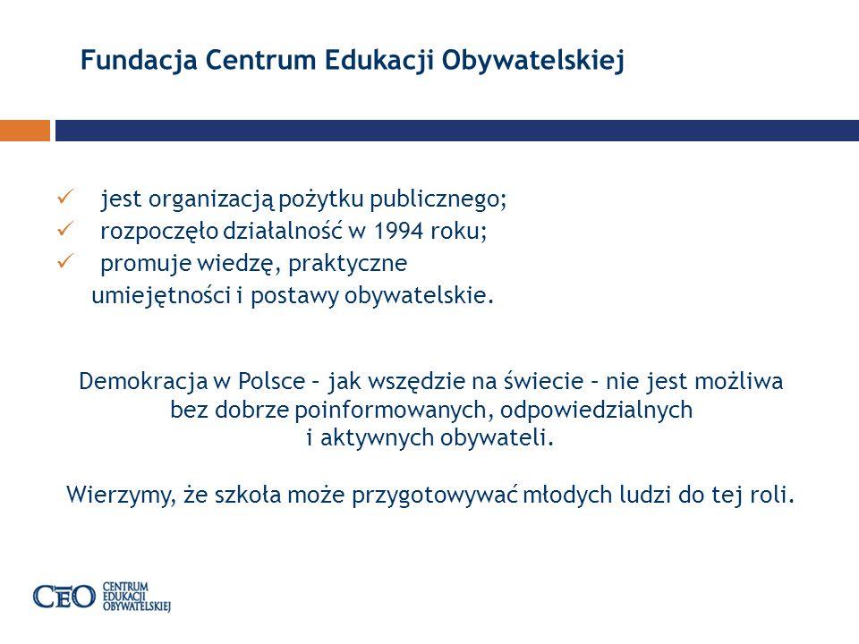 Samorząd uczniowski Program Samorząd uczniowski jest skierowany do uczniów oraz nauczycieli gimnazjów i szkół ponadgimnazjalnych z całej Polski, którzy chcą rozwijać w swoich szkołach aktywność młodych obywateli.