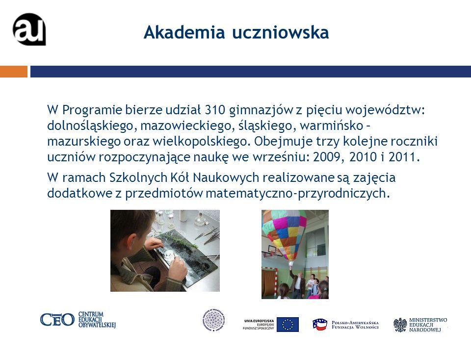 Akademia uczniowska W Programie bierze udział 310 gimnazjów z pięciu województw: dolnośląskiego, mazowieckiego, śląskiego, warmińsko – mazurskiego oraz wielkopolskiego.