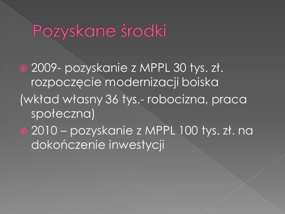 2009- pozyskanie z MPPL 30 tys. zł.