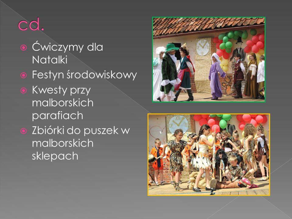 Ćwiczymy dla Natalki Festyn środowiskowy Kwesty przy malborskich parafiach Zbiórki do puszek w malborskich sklepach
