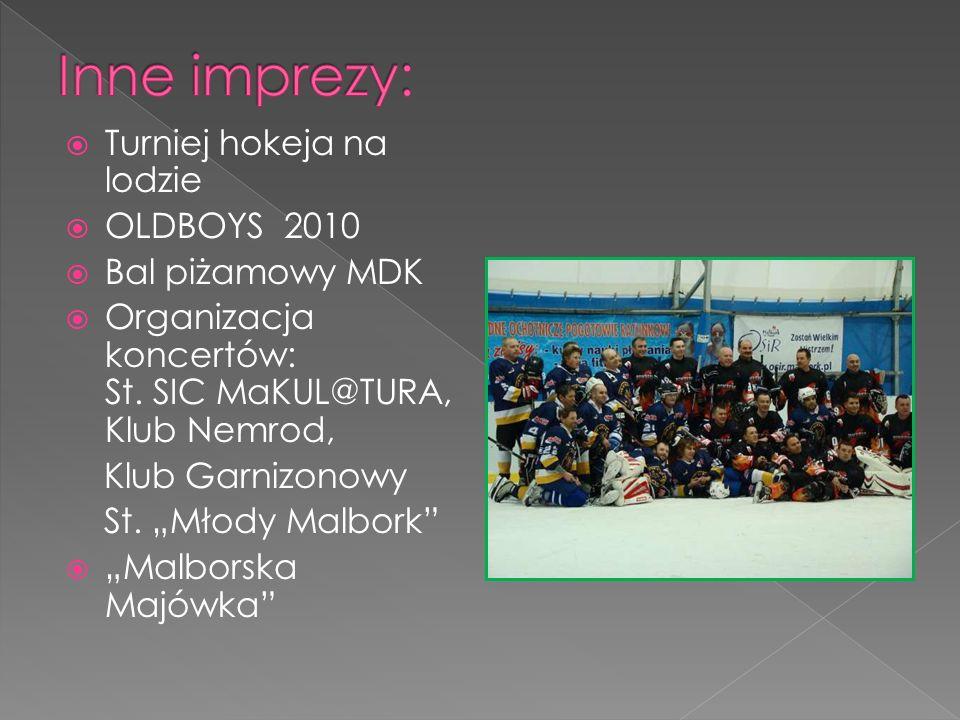 Turniej hokeja na lodzie OLDBOYS 2010 Bal piżamowy MDK Organizacja koncertów: St.