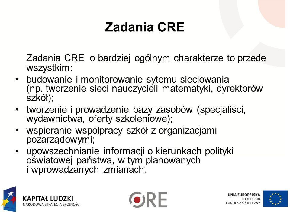 Zadania CRE Zadania CRE o bardziej ogólnym charakterze to przede wszystkim: budowanie i monitorowanie sytemu sieciowania (np.