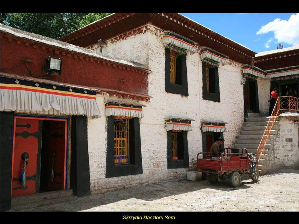 Pomnik jaka (Yak),zwierzę Tybetu.Z tyłu Pałac Potala, z przodu ryksze. (Usługi rykszarzy regulowane są przez władze).