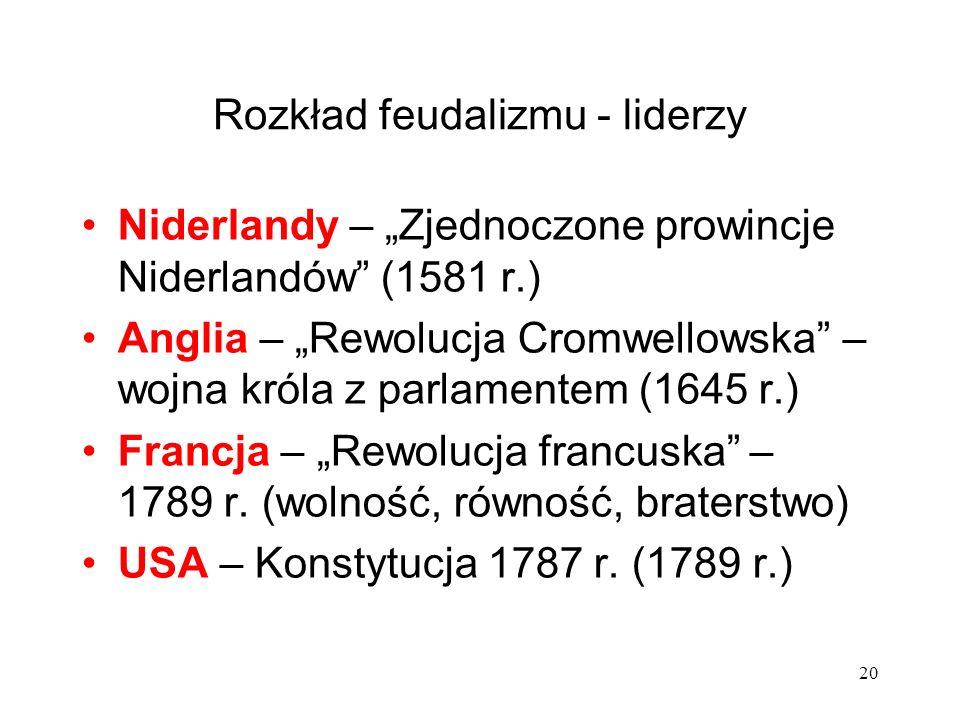 Rozkład feudalizmu - liderzy Niderlandy – Zjednoczone prowincje Niderlandów (1581 r.) Anglia – Rewolucja Cromwellowska – wojna króla z parlamentem (16