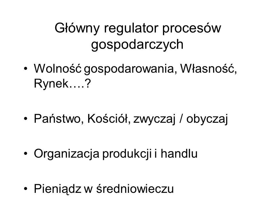 Główny regulator procesów gospodarczych Wolność gospodarowania, Własność, Rynek….? Państwo, Kościół, zwyczaj / obyczaj Organizacja produkcji i handlu